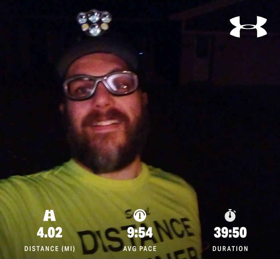 Run finish shot in my Social Distance Runner shirt. Run Stats: Distance 4.04 miles/Average Pace 9:54 minutes per mile/Duration 39:50 minutes