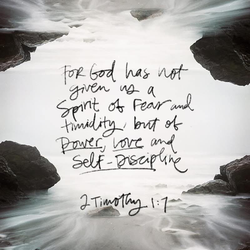 """""""God has not given us a spirit of fear and timidity, but of power, love, and self-discipline. 2 TIMOTHY 1:7 NLT"""" - https://bible.com/bible/116/2ti.1.7.NLT"""